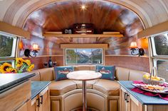 The interior of this airstream is sexy... It's mostly because of the copper on the ceiling.