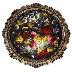 Plateau Jostovo en métal peint Russie, Cadeau russe Plateau métal peint Zhostovo