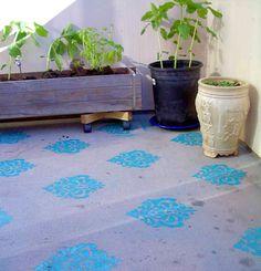Concrete Garden Stencil Stencil Concrete, Floor Stencil, Stenciled Floor,  Painting Concrete, Concrete