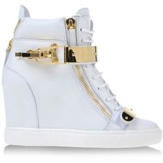 Giuseppe Zanotti Design High-Tops ($1,325) ❤ liked on Polyvore featuring shoes, sneakers, wedges, heels, white, white sneakers, wedge sneakers, white wedge shoes, leather sneakers and white wedge sneakers