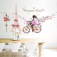 Sticker Wall, ZTY66 Romance 'Paris Tower & Bike Girl' Decal PVC Mural Sticker for DIY Home Decor