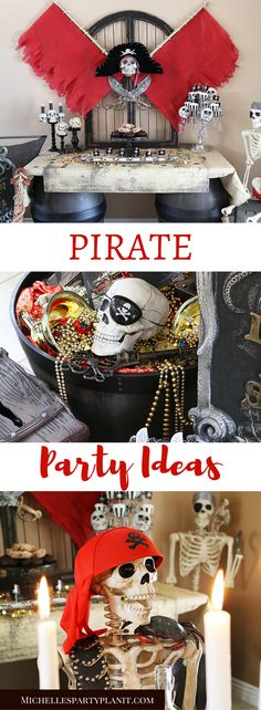Pirate Party Ideas including a DIY Pirate Backdrop, Pirate Ship Mast and Pirate Candle Holders. Step by Step tutorial by Michelles Party Plan-It for Oriental Trading halloween candelabra Pirate Party Decorations, Pirate Decor, Pirate Theme, Party Themes, Party Ideas, Diy Party, Fun Ideas, Deco Pirate, Pirate Day