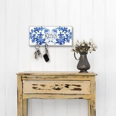 Key Holder for Wall - Blue Onion, Entryway Wall Decor Decor, Wall, Decorating Your Home, Wall Decor, Classic Home Decor, Entryway Wall Decor, Wall Key Holder, White Walls, White Wall Decor