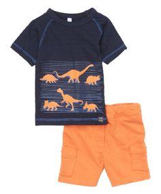 Look at this #zulilyfind! Navy Dinosaur Tee & Orange Cargo Shorts - Infant, Toddler & Boys by NANO #zulilyfinds