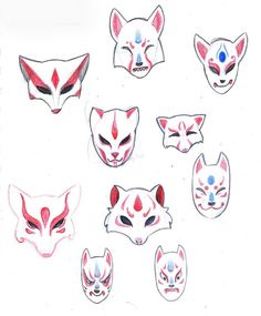 Kitsune mask ideas.                                                                                                                                                      More