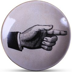POINTING HAND WALL PLATE - Vintage inspired decorative wall plate with print of the pointing hand. Ceramic with Crackle Finish 15cm diameter