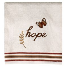The Faithful Birds Bath Towel by Saturday Knight, Ltd. is a cream towel adorned with an embroidered butterfly, the word hope and a sprig. A woven multi colored dobby band adds interest and texture to the towel. Made of soft and absorbent cotton, th Dobby Fabric, Towel Set, Hand Towels, Knight, Faith, Birds, Embroidery, Floral, Natural