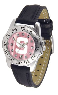 Michigan State Spartans Ladies Sport Watch With Leather Band, Mother Of Pearl Dial