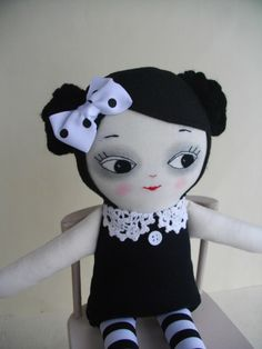Goth Girl Ragdoll - Handmade OOAK cloth doll Gothic doll Artdoll Plush toy by PalookaHandmade on Etsy https://www.etsy.com/listing/226518122/goth-girl-ragdoll-handmade-ooak-cloth