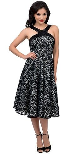 Iconic By UV 1950s Style White & Black Lace Halter Dorian Swing Dress