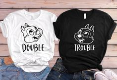 Double Trouble Chip and Dale Disney Shirts Disney Shirts Bff Shirts, Cute Disney Shirts, Cute Disney Outfits, Matching Disney Shirts, Disney Couple Shirts, Disney World Shirts, Disney Vacation Outfits, Cute Couple Shirts, Matching Couple Shirts