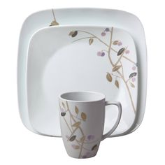 Corelle Square 16-Piece Dinnerware Set, Midnight Garden, Service for 4 ** You can get more details by clicking on the image. (This is an affiliate link) #SimpleHomeDecor