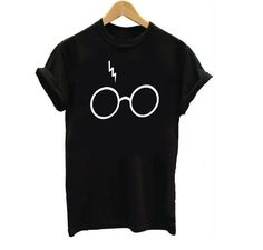 Fashion Harry Potter Lightning Glasses Printed T-shirt Tees Harajuku Tshirt Plus big size S-3XL
