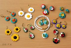 polymer clay pendent with earings by zeitx