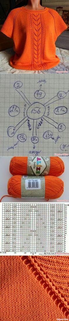 New Crochet Sweater Summer Ideas Baby Knitting Patterns, Knitting Charts, Knitting Stitches, Free Knitting, Crochet Patterns, Knitting Needles, Summer Knitting, Diy Crafts Knitting, Knitting Projects