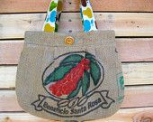 Upcycled Burlap Pleated Purse. Fall Fashion. Apples. Pears. Red. Teal. Yellow. Green. Brown. FREE Shipping
