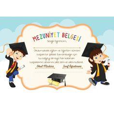 Mezuniyet Belgesi M31 Award Certificates, Certificate Templates, Classroom Labels, Unique Christmas Trees, Minion Party, Graduation Day, Children, Kids, Congratulations
