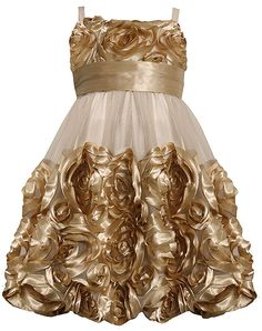 Bonnie Jean Ivory and Gold Bonaz Flower Mesh Bubble Dress - perfect for any special occasion! (available in sz.12m-16) #Christmas #holidays