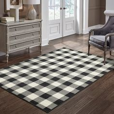 Shop for The Gray Barn Garland Gale Gingham Check Black/ Ivory Loop Pile Indoor-Outdoor Area Rug - x Get free delivery On EVERYTHING* Overstock - Your Online Home Decor Store! Get in rewards with Club O! Area Rugs For Sale, Patio Rugs, Indoor Outdoor Area Rugs, Outdoor Decor, Outdoor Planters, Outdoor Furniture, Gingham Check, Online Home Decor Stores, Online Shopping