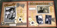 Double page Rustic Layout using all Kaszazz papers and embellisments Scrapbook Sketches, Scrapbooking Layouts, Scrapbook Pages, Craft Projects, Projects To Try, Vintage Scrapbook, 60th Birthday, Family Pictures, Ancestry