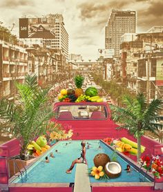 """collage-calamity: """" Tumblr 2013 Year in Review Featured my """"Bangkok Pool Party on a Pickup Truck"""" collage as one of the most reblogged artworks on Tumblr Open Arts in 2013. I'm hella stoked!! So glad I had the opportunity to share my art across the..."""