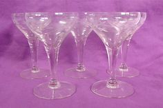 Five Vintage Wine Glasses by DelicateCreations on Etsy