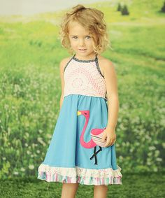 Another great find on #zulily! Blue Flamingo Lace Halter Dress - Toddler & Girls by Twirls & Twigs #zulilyfinds
