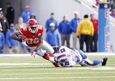 Best of NFL Week 9 - NFL: Kansas City Chiefs at Buffalo Bills -- Nov 3, 2013; Orchard Park, NY, USA; Buffalo Bills free safety Aaron Williams (23) tackles Kansas City Chiefs wide receiver Dwayne Bowe (82) during the first half at Ralph Wilson Stadium. (Kevin Hoffman-USA TODAY Sports)