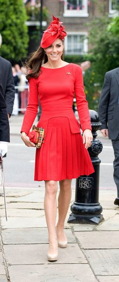 Kate Middleton looks stunning in this red Alexander McQueen dress- clearly the #LondonLook
