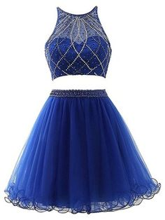 4111da0ee05 Royal Blue Two Pieces Homecoming Dress