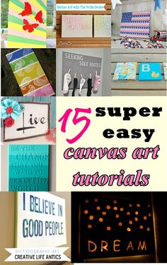 15 Super Easy Canvas Art Tutorials - click image for more info.