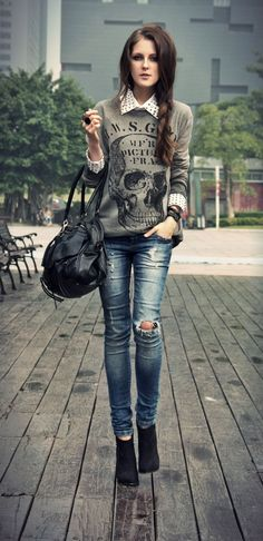 Skull, the perfect two :) with Pull & Bear - sweatshirt, bershka - Jeans | on Fashionfreax you can discover new designers, brands & trends.