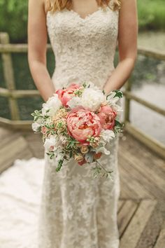 by Maggie Sottero Wedding Dresses Maggie Bride Ali wore Chesney by Maggie Sottero at her Rustic Barn Wedding with Pops of Coral Coral Wedding Colors, Coral Colour, Wedding Ideias, Coral Peonies, Peonies Bouquet, Flower Bouquets, Peach Bouquet, Coral Bridal Bouquets, Coral Bridesmaids