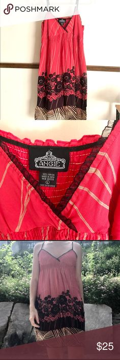 Angie Summer Dress Pink, Black & Brown 🌺🌹🌺 Very simple empire waist style with triangle top- unpadded, lightly lined, spaghetti straps. Perfect for a Summer day or to the beach with nothing underneath. Size Large but could fit smaller or larger one size either way. Angie brand creates a hippy style in cool and classy California breezy style. ❤️I love offers❤️ Angie Dresses Midi