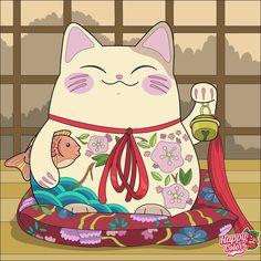 Tattoo Gato, Cat Tattoo, Neko Cat, Maneki Neko, Kitty Cats, Cat Character, Character Design, Daruma Doll, Japanese Cat