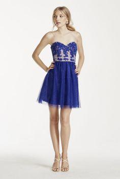 Glitter Mesh Dress with Illusion Lace Bodice - Royal (Purple), 11