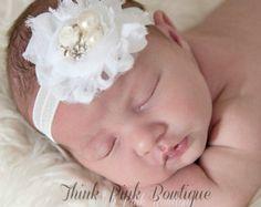 SALE Grey Cream Baby HeadbandNewborn headband by ThinkPinkBows