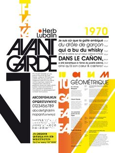 Clémence Allaire, Julia Benhamou, l'Avant-garde Catchy color. Neat composition with emphasis on the font name & a piece of the font. Diagonal axis spice things up