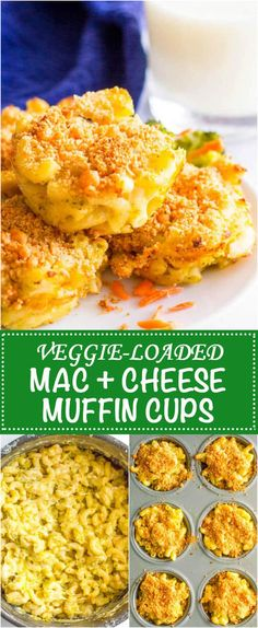 Veggie mac and cheese muffins have 3 vegetables and 3 kinds of cheese, plus a crunchy topping, and are a great way to get kids to eat their vegetables! #kidfood #toddlerfood #hiddenveggies #macandcheese #pasta Zucchini Muffins, Muffins Blueberry, Almond Muffins, Mac And Cheese Muffins, Mac And Cheese Cups, Mac Cheese, Vegan Cheese, Cheddar Cheese, Side Dish Recipes