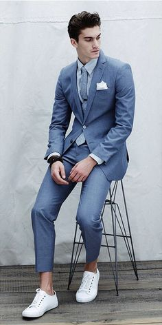 2017 Latest Coat Pant Designs Blue Casual Notched Lapel Custom Made Young Slim Fit Suit For Men 2 Pieces Tuxedo Masculino C Suits And Sneakers, Sneakers Fashion, Men Sneakers, Mens Fashion Suits, Mens Suits, Casual Suit, Men Casual, Blue Suit Men, Men's Blue Suits