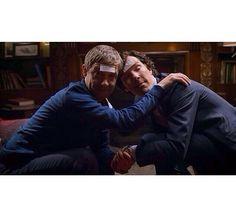 SHERLOCK (BBC) ~ Season 3, Episode 2: The Sign of Three. John (Martin Freeman) and Sherlock (Benedict Cumberbatch) after too much to drink the night before John & Mary's wedding. #DrunkSherlock