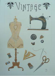 #Illustrazione ad #acquerello, la #Sartoria #Vintage di #LabLiu su #Etsy