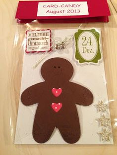 """Heikes Kreativseite: Card Candys zum Thema """" Weihnachten """" Candy Cards, Gingerbread Cookies, Embellishments, Scrapbooking, Paper Crafts, Winter, Christmas, Ideas, Gingerbread Cupcakes"""
