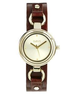 Image 1 ofOasis Leather Link Strap Watch
