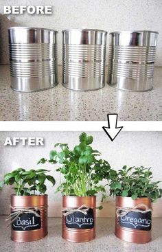 25 Great repurpose projects with spray paint. Don't throw away those tins cans, spray paint them and use them as pots, vases, or pencil organizers! -- 29 Cool Spray Paint Ideas That Will Save You A Ton Of Money Home Crafts, Diy Home Decor, Diy And Crafts, Recycled Crafts, Recycled Decor, Diy Decoration, Tin Can Decorations, Decor Crafts, Tin Can Centerpieces