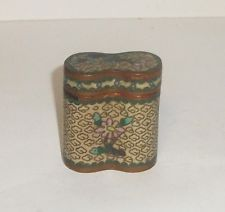 OLD CHINESE BRONZE CLOISONNE YELLOW ENAMEL SMALL OPIUM CANISTER JAR BOX
