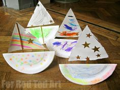 These Paper Plate Ships are quick and easy to make and great for group crafts! Learn how to make a rocking boat! art on paper Rocking Paper Plate Boat - Red Ted Art - Make crafting with kids easy & fun