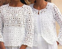 PATRÓN de ganchillo para mujeres señoras Crochet chaqueta chaleco Top Crochet adorno ganchillo suéter 32-36 pulgadas 4Ply algodón hilado PDF descarga instantánea