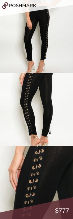 SASSY LACEUP LEGGINGS Brand New Boutique item Price is firm Bundle to save 	 	 These Black lace up detail leggings with gold hardware are a MUST HAVE!! Popular and on trend these leggings are perfect for the coming season. Pair with one of our lace up details sweaters for a complete look!!   Material 95% rayon 5%Spandex MODA ME COUTURE Pants Leggings