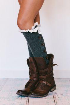 Lacy Knitted Leg Warmers Button Down LegWarmers Smoke Grey. $48.00, via Etsy.